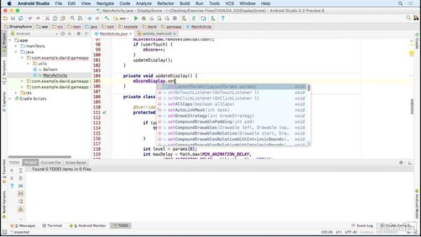Display scores during game play: Building a Game App with the Android SDK