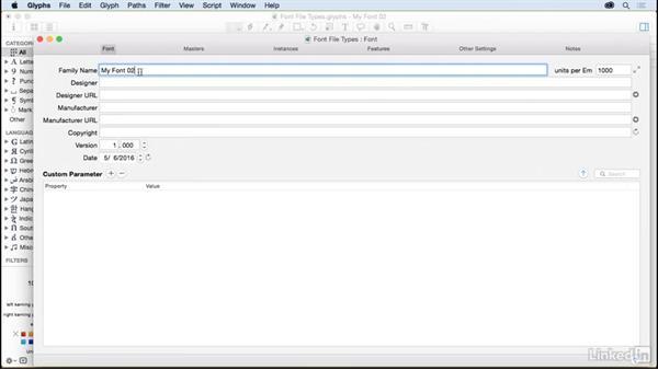 Font file types: Glyphs App Essential Training
