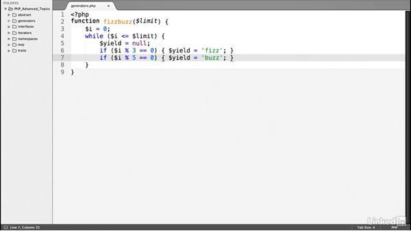 Create a generator: PHP: Advanced Topics