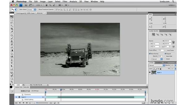 Editing start and end times: Photoshop CS4 Extended for Video
