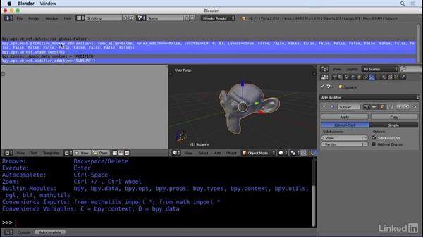 Developer tooltips and the info window: Python Scripting for Blender