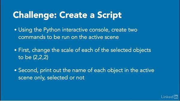 ✓Challenge: Create a simple script: Python Scripting for Blender
