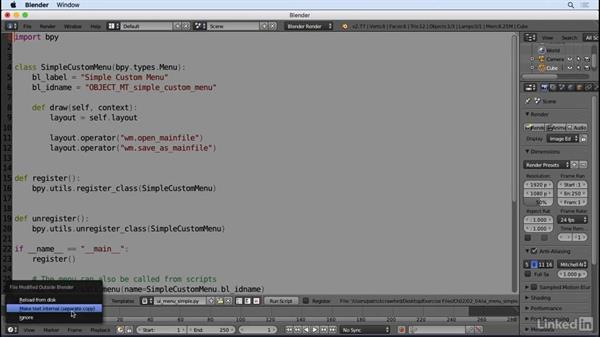 How to use and avoid the text editor: Python Scripting for Blender