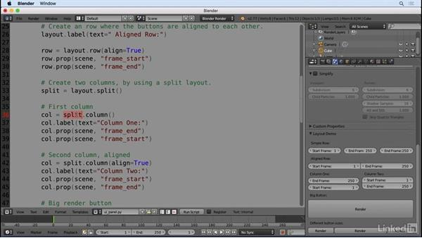 Using the built-in templates, dissect example panel: Python Scripting for Blender