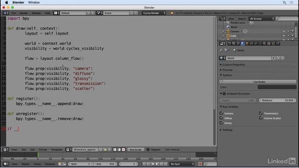 Append to existing panels: Python Scripting for Blender