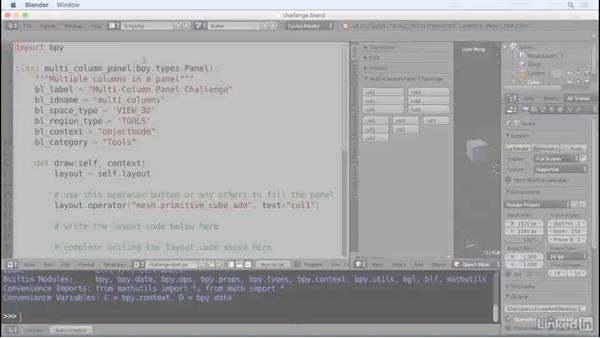 ✓Challenge: Create a panel layout: Python Scripting for Blender