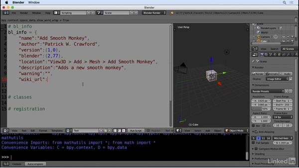 Building the add-on framework: Python Scripting for Blender