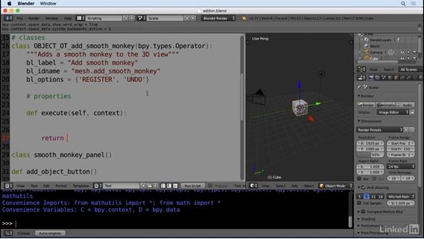 Creating an operator framework: Python Scripting for Blender