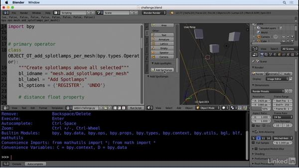 ✓Solution: Create another operator: Python Scripting for Blender
