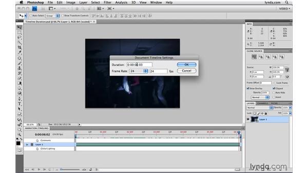 Adjusting timeline duration: Photoshop CS4 Extended for Video