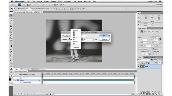 Understanding and adjusting frame rate: Photoshop CS4 Extended for Video