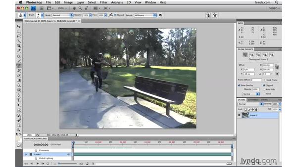 Using the cloning tools on video: Photoshop CS4 Extended for Video