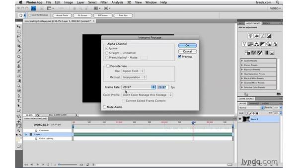Interpreting footage: Photoshop CS4 Extended for Video