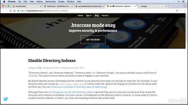 Prevent directory listings: WordPress: Developing Secure Sites