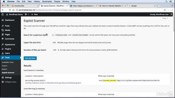 Detect hacks: WordPress: Developing Secure Sites