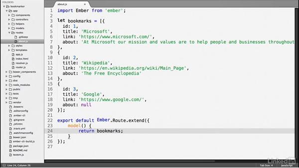 Define the model: Ember.js Essential Training