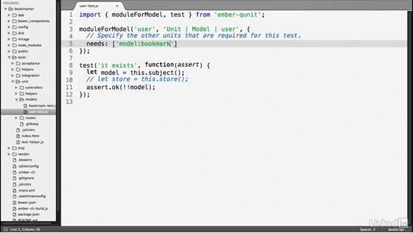 Model tests: Ember.js Essential Training