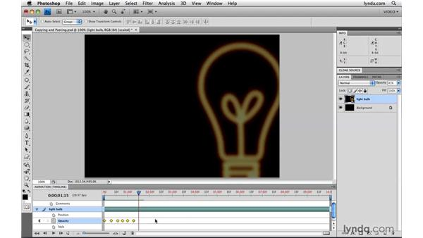 Copying and pasting keyframes: Photoshop CS4 Extended for Video