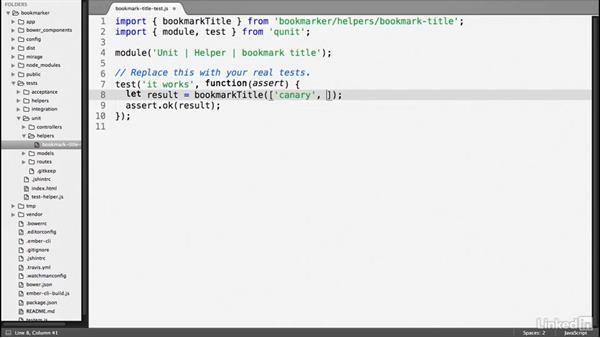 Helper tests: Ember.js Essential Training