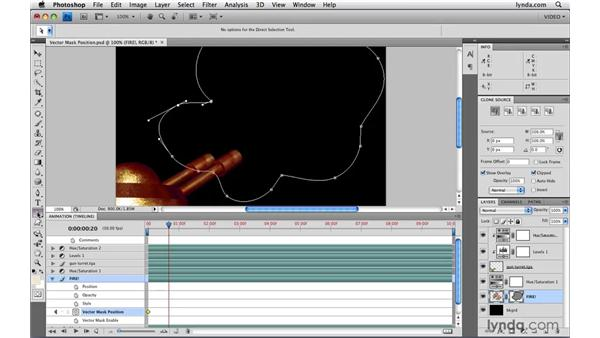 Animating vector mask position: Photoshop CS4 Extended for Video