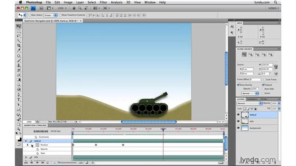 Using the keyframe navigator: Photoshop CS4 Extended for Video