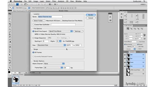 Exporting PSDs with an alpha channel: Photoshop CS4 Extended for Video