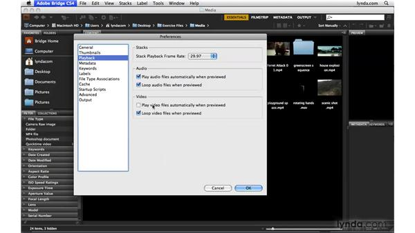 Changing Bridge video settings: Photoshop CS4 Extended for Video