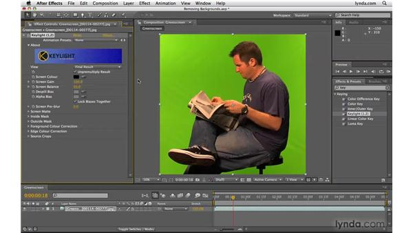 Removing colored backgrounds faster in After Effects: Photoshop CS4 Extended for Video