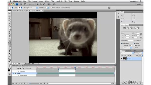 Using the new keyboard shortcuts: Photoshop CS4 Extended for Video