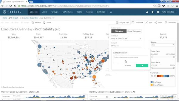 Subscribe other users: Tableau 10 New Features