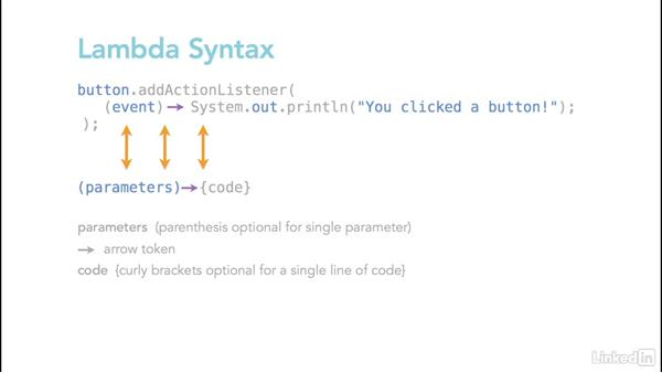 Use anonymous classes and lambdas for buttons: Learn Java Concepts By Example