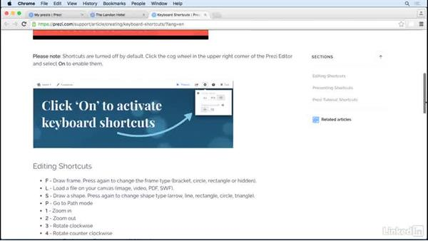 Learn important keyboard shortcuts: Prezi Tips and Tricks