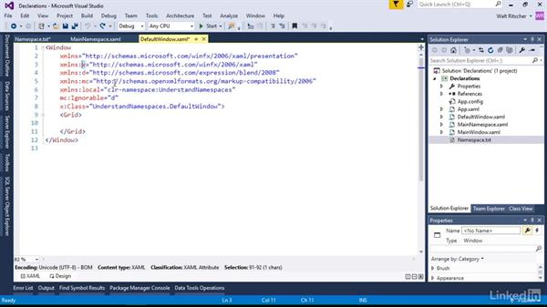 Namespace declarations in XAML files: Microsoft XAML Fundamentals 1: Core Concepts