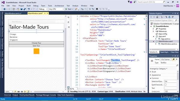 Use event attributes to subscribe to events: Microsoft XAML Fundamentals 1: Core Concepts