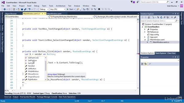 Event handlers for event attributes: Microsoft XAML Fundamentals 1: Core Concepts