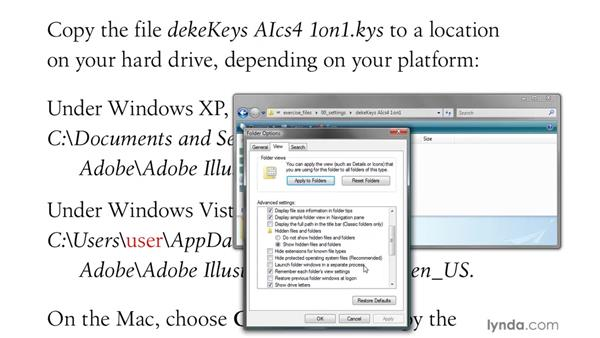 Installing the dekeKeys keyboard shortcuts: Illustrator CS4 One-on-One: Advanced
