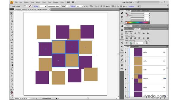 Distributing objects by space: Illustrator CS4 One-on-One: Advanced