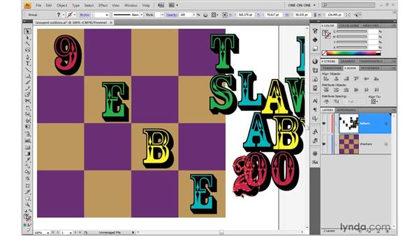 Aligning key letters: Illustrator CS4 One-on-One: Advanced