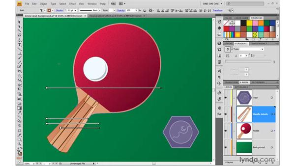 Setting multiple gradients to the same angle: Illustrator CS4 One-on-One: Advanced