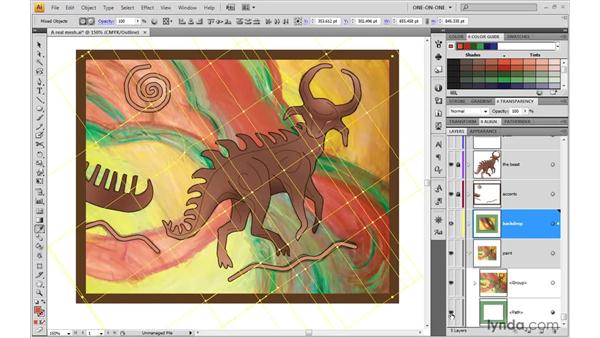 Assigning colors with the Eyedropper tool: Illustrator CS4 One-on-One: Advanced