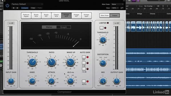 Processing vocals with compression and limiting: Vocal Production Techniques: Editing and Mixing in Logic Pro