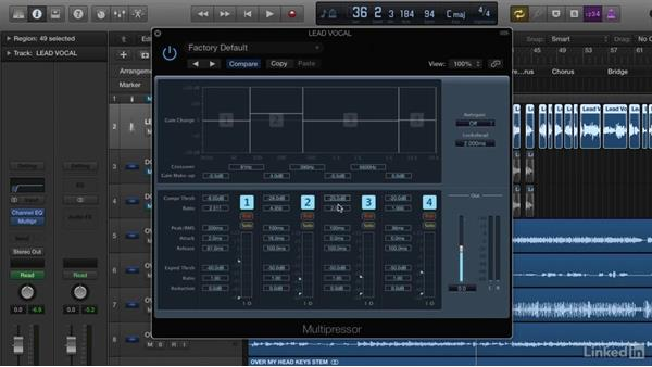 Applying multiband compression for more focused dynamics control: Vocal Production Techniques: Editing and Mixing in Logic Pro