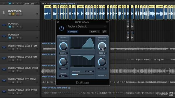 De-essing a vocal track: Vocal Production Techniques: Editing and Mixing in Logic Pro