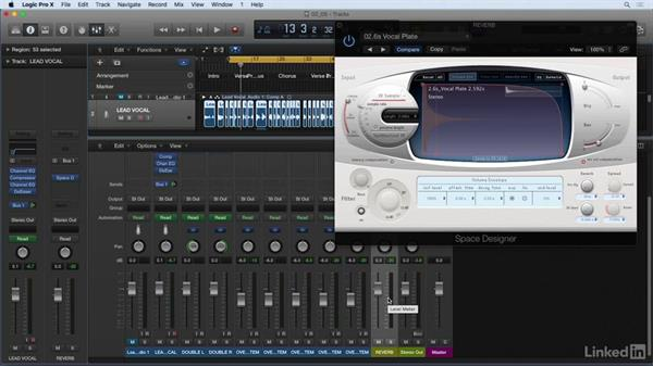 Using reverb send to enhance vocals: Vocal Production Techniques: Editing and Mixing in Logic Pro