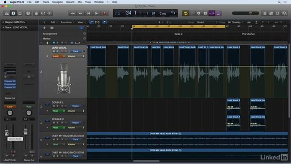 Automating vocal levels: Vocal Production Techniques: Editing and Mixing in Logic Pro
