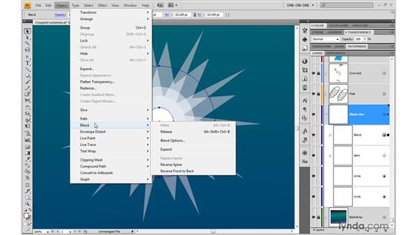 Blending between translucent shapes: Illustrator CS4 One-on-One: Advanced