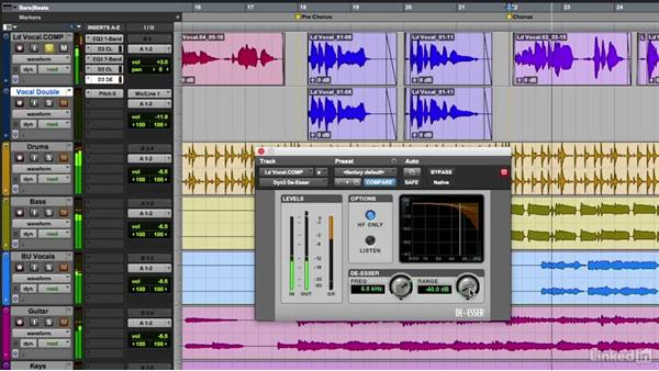 De-essing a vocal track: Vocal Production Techniques: Editing and Mixing in Pro Tools