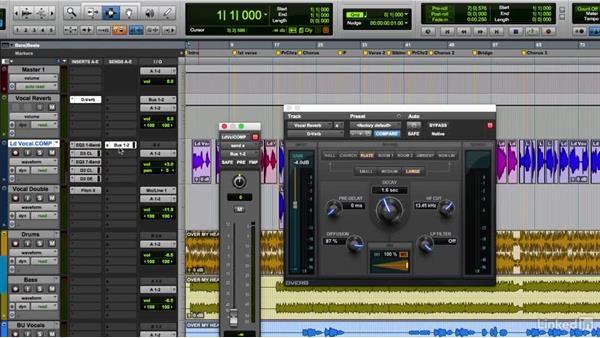 Using reverb send to enhance vocals: Vocal Production Techniques: Editing and Mixing in Pro Tools