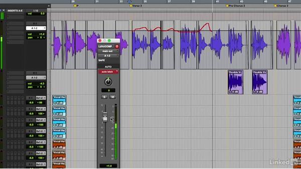 Automating vocal levels: Vocal Production Techniques: Editing and Mixing in Pro Tools