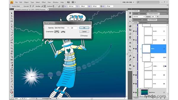 Adjusting the speed of a blend: Illustrator CS4 One-on-One: Advanced